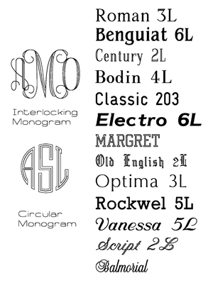 Occasions Engraving: Font Options, preview monograms