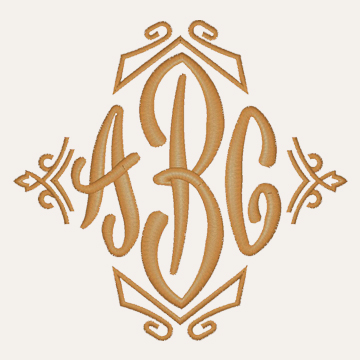 End Scroll Monogram with Border